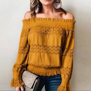 🌻 Sunflower Yellow Long Sleeve Off Shoulder Top